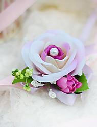 economico -Bouquet sposa Legato Rose Braccialetto floreale Matrimonio Partito / sera Cotone Seta