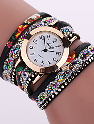 cheap -Women's Bracelet Watch Fashion Watch Quartz Casual Watch Leather Band Flower Black White Blue Orange Brown Pink