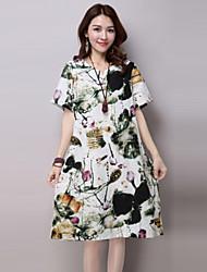 baratos -Mulheres Vintage Solto Vestido - Estampado Altura dos Joelhos