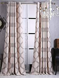 Rod Pocket Grommet Top Tab Top Double Pleated Pencil Pleated Two Panels Curtain Modern , Stripe Kids Room Polyester Material Blackout