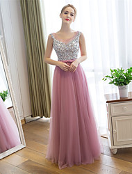 cheap -Sheath / Column Illusion Neckline Floor Length Satin Tulle Prom Formal Evening Dress with Sequins by Embroidered bridal