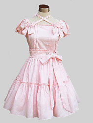 One-Piece/Dress Sweet Lolita Lolita Cosplay Lolita Dress Pink / Blue Solid Short Sleeve Knee-length Dress For Women Cotton