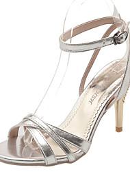 Da donna-Sandali-Formale Casual-Comoda-A stiletto-Finta pelle-Oro Argento Rosso