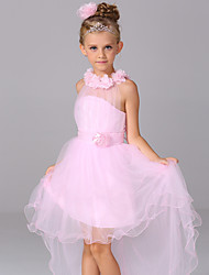cheap -A-Line Asymmetrical Flower Girl Dress - Cotton / Satin / Tulle Sleeveless Halter Neck with Sash / Ribbon / Flower by