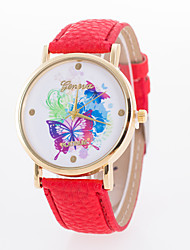 cheap -Women's Wrist Watch Hot Sale Leather Band Butterfly / Fashion White / Blue / Red / One Year / Tianqiu 377