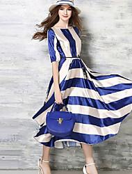Trapèze Robe Femme Soirée / CocktailRayé Col Arrondi Maxi Manches Courtes Bleu Polyester Toutes les Saisons Taille Haute Non Elastique