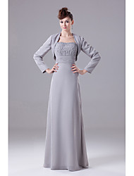 A-Line Strapless Floor Length Chiffon Mother of the Bride Dress with Beading Draping by XFLS