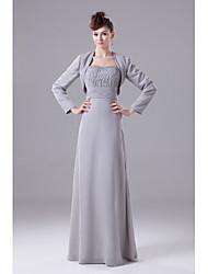 economico -a-line senza spalline madre chiffona lunghezza del vestito da sposa con bordatura di drappeggio da xfls