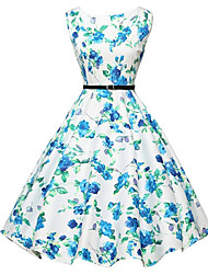 cheap -Women's Vintage A Line Dress - Floral, Print