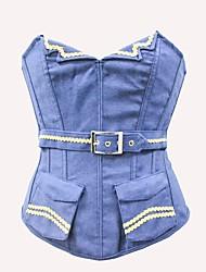 cheap -YUIYE® New Women V Collar Jean Sexy Lingerie Waist Training Corset Bustier Tops Shapewear Blue S-2XL