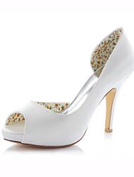 cheap -Women's Shoes Stretch Satin Stiletto Heel Heels / Peep Toe Sandals Wedding /  Dress Pink / Ivory / Champagne