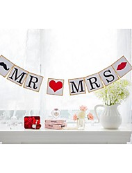 Cute MR MRS Mustache Lips Banner Wedding Engagement Garland Sign Photo Props with String
