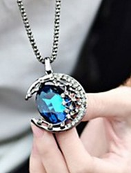 cheap -Gem Moon Curved Long Necklace Fashionable Restore Ancient Ways The City Moonlight Long Women Sweater Chain