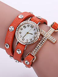 Women's Quartz Analog White Case Multilayer Leather Band Bracelet Wrist Fashion Watch Jewelry
