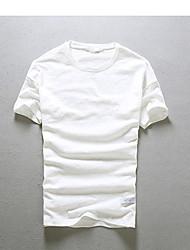 Camiseta De los hombres Un Color-Casual-Algodón-Manga Corta-Negro / Azul / Rosa / Blanco