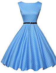abordables -Femme Rétro Trapèze Patineuse Robe Points Polka Mi-long Bleu