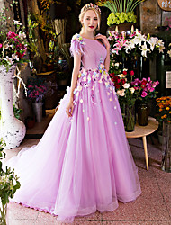 cheap -Ball Gown Princess Scoop Neck Court Train Satin Tulle Formal Evening Dress with Appliques Flower Ruffles by LAN TING Express