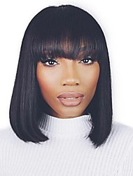 "12"" Natural Black Color Brazilian Virgin Human Hair Silky Straight Bob Style Glueless Lace Wig with Bang"