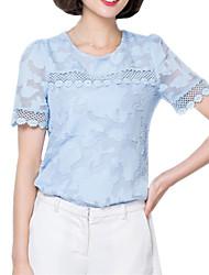 cheap -Summer Casual Women's Lace Hollowing Splicing Round Neck Chiffon Blouse Fashion Slim Short Sleeve Shirt Tops