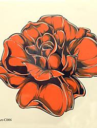 economico -1pc halloween pasta tatuaggio tatuaggio di colore adesivi una versione più grande di fiori impermeabili