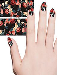 abordables -las mujeres de moda las flores preciosas DIY del arte del clavo de transferencia de agua de la etiqueta engomada manicura de belleza