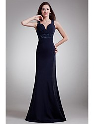 cheap -Sheath / Column Sweetheart Floor Length Chiffon Prom / Formal Evening Dress with Beading Side Draping by TS Couture®