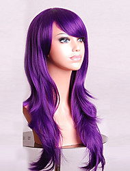 70 cm Long Curly Purple Hair Air Volume High Temperature Silk Wig