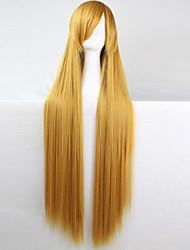 abordables -cheveux raides jaune d'or 100 cm de long fil à haute température Anime Cosplay perruque