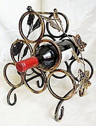 Continental Iron Wine Rack Retro Six Bottled Wine Rack Storage Hanging Wine Glass Wijn Holder Iron Bronze