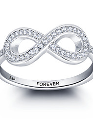 Personalized Promise 925 Sterling Silver Infinity CZ Stone Ring For Women