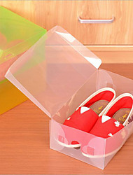 cheap -4 Pcs Clear Plastic Shoe Storage Transparent Boxes Container Organizer Holder Random Color