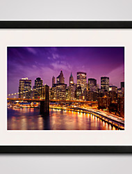 cheap -New York Brooklyn Bridge At Night Printed Canvas  40x50cm with Black Frame Ready To Hang
