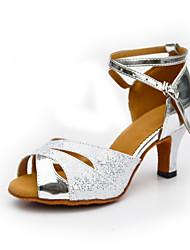 Women's Latin Suede Glitter PU Heel Indoor Buckle Splicing Silver Blue Customizable