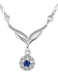 Муж. Женский Ожерелья-бархатки Ожерелья с подвесками Кулоны Стерлинговое серебро Циркон Цирконий Синий БижутерияСвадьба Для вечеринок