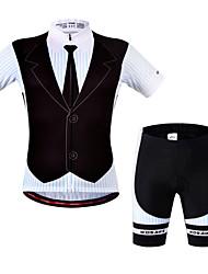 baratos -WOSAWE Manga Curta Camisa com Shorts para Ciclismo - Preto Moto Shorts Shorts Acolchoados Camisa/Roupas Para Esporte Conjuntos de Roupas,