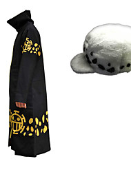 cheap -Inspired by One Piece Trafalgar Law Anime Cosplay Costumes Cosplay Suits Print Cloak Hat For Men's