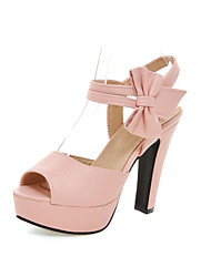 cheap -Women's Girls' Shoes Leatherette Spring Summer Chunky Heel Bowknot Buckle Hollow-out for Party & Evening Dress Black Beige Purple Pink