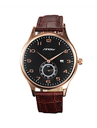 SINOBI Masculino Relógio de Pulso Quartzo Calendário Impermeável Relógio Esportivo Rosa Folheado a Ouro Couro Banda Luxuoso Marrom Marron