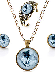 Lureme® Time Gem Series Vintage Romantic Lovers Wolf Pendant Necklace Stud Earrings Hollow Flower Bangle Jewelry Sets