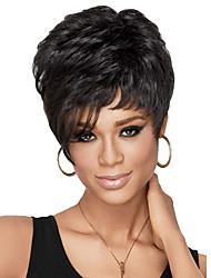 economico -donne senza cappuccio corto signora riccia parrucca sintetica lato scoppio nero con rete di capelli gratis