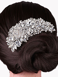 cheap -Women's Party Elegant Wedding Crystal Silver Plated Hair Comb
