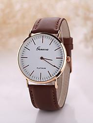 cheap -Geneva Men's Quartz Wrist Watch Casual Watch Leather Band Minimalist Black Brown