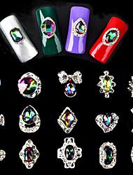 Random Mixed 5pcs AB Rhinestone Alloy Nail Art Decorations Luxurious 3d Charm Nail Jewelry Manicure Tools