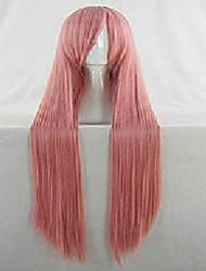 Mulher Perucas sintéticas Muito longo Liso Rosa claro Peruca Fantasia Perucas para Fantasia