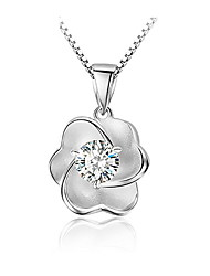 Vintage Rhinestone White Simple Flower Pendant Necklace 925 Silver Link Chain Fashion Women Crystal Jewelry