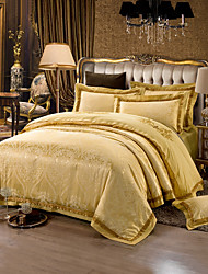 Yellow  Queen King Size Bedding Set Luxury Silk Cotton Blend Duvet Cover Sets