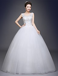 cheap -Ball Gown Scoop Neck Floor Length Tulle Beaded Lace Custom Wedding Dresses with Appliques by QQC Bridal