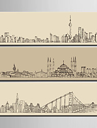 E-HOME® Stretched Canvas Art Urban Architectural Line Painting Decoration Painting  Set of 3