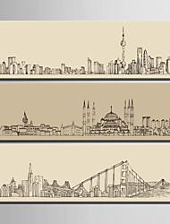 Arquitetura Impressão em tela 3 Painéis Pronto para pendurar,Vertical