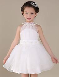 economico -a-line breve / mini fiore ragazza vestito - collo organza satin sleeveless collo gioiello con pieghe da lovelybees